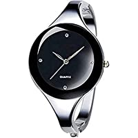 Vavna Womens Ladies Stainless Steel Black Dial Oval Bracelet Bangle Wrist Watch Quartz (Round Dial)