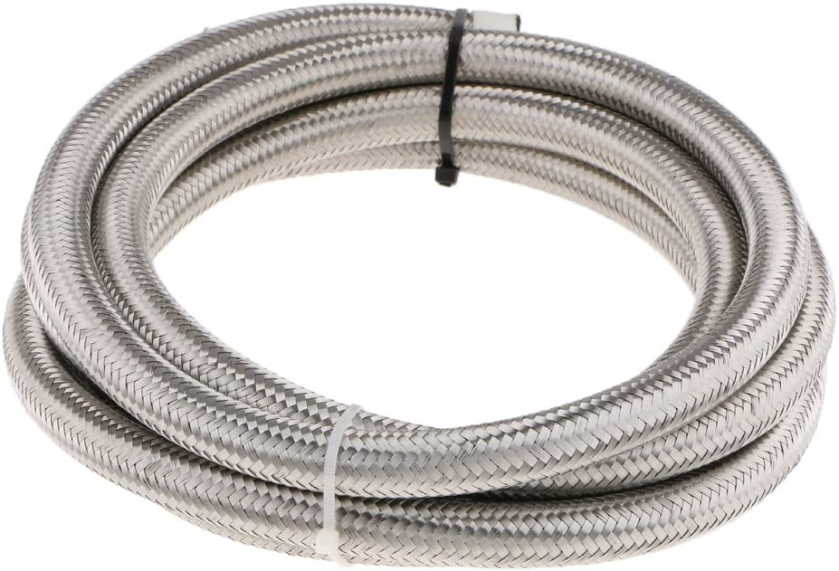 Silver Almencla 10FT AN8 Stainless Steel Nylon Braided Oil Fuel Line Hose and 10Pieces 8AN Hose End Fitting Kit
