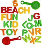 ABC Alphabet Beach Sand Mold Toy Set for Kids with 26 Letter Molds, Shovel, Sifter (colors vary) - Compatible with Kinetic Sand