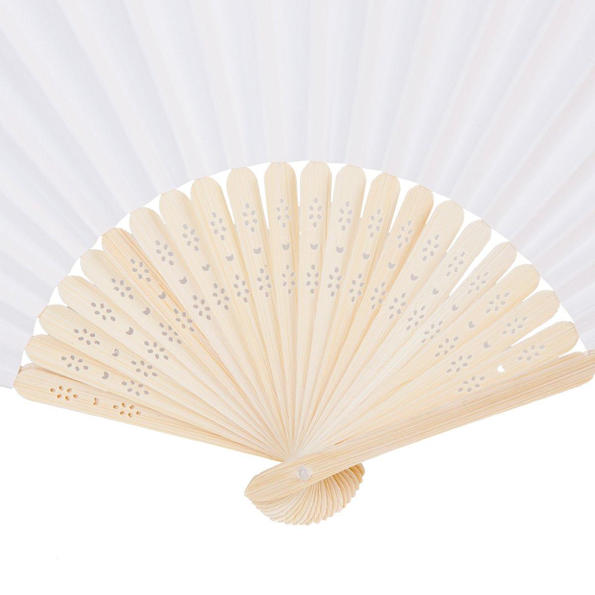 Amazon.com: Sepwedd 50pcs white paper hand fan White Bamboo Folding ...