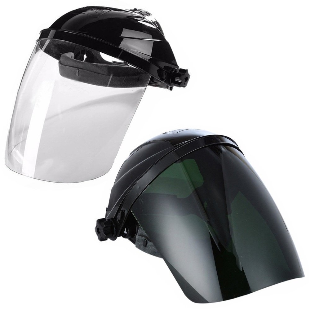 Ginode 2 Pack Anti-UV Welding Grinding Helmet Full Face Grinding Shield Plasma Cutting/Grinding Polycarbonate Face shield Black Crown and Clear Anti-Fog Window with Ratchet Headgear by Ginode