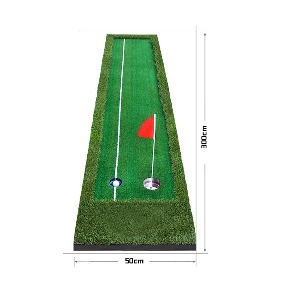 ゴルフマット屋内ゴルフパター練習場グリーンズフェアウェイ練習ブランケットラインのどこにでも遊べる(色:二色草、サイズ:0.5 * 3m)   B07BSTS219