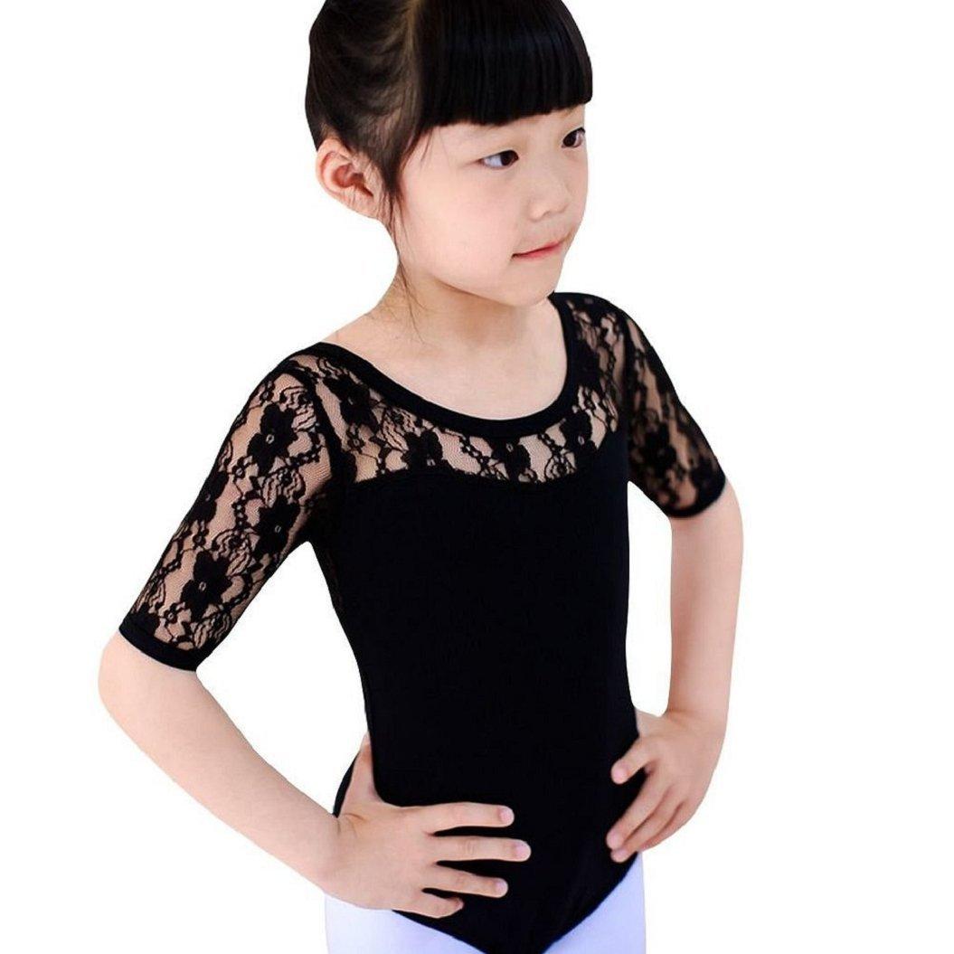 GQMART Girls Ballet Dance Leotard Dancewear Lace Tutu Strap Jumpsuits 6-7 Years,Black