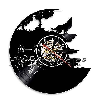 Silueta De Lobo Aullando En Luna Reloj De Pared Vintage Lobo