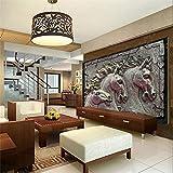 Lwcx 3D Wallpaper Home Decoration Background Horse Sculpture Metal Style Hotel Bathroom Large Art Murals 3D Wallpaper 400X280CM