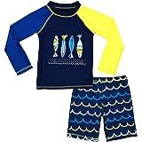 Boys Two Piece Rash Guard Swimsuits Kids Long Sleeve Sunsuit Swimwear Sets