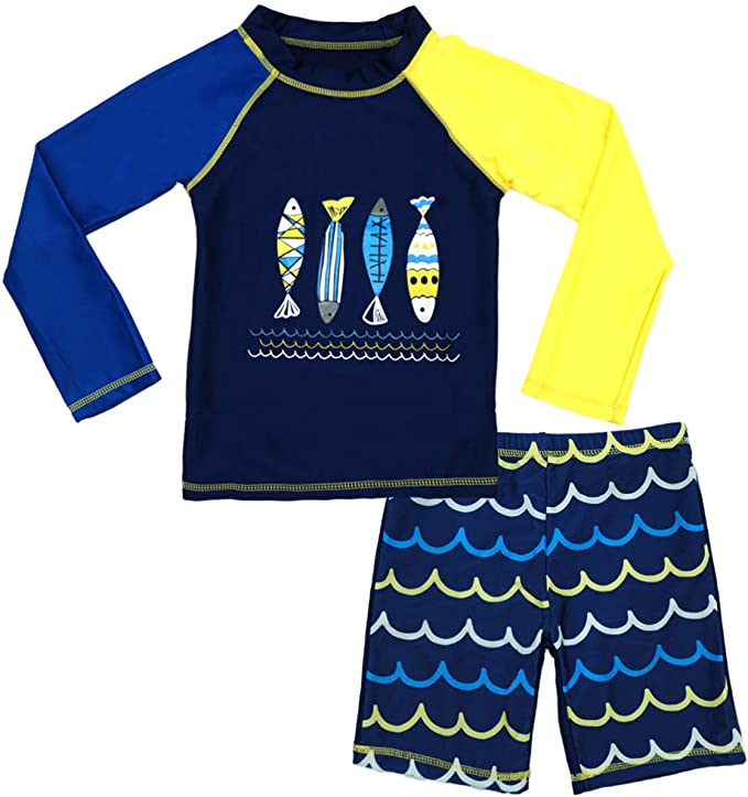 Baby Kid Boys Long Sleeve Swimwear Tops Pants Swimsuit Surfing Beach Rash Guard