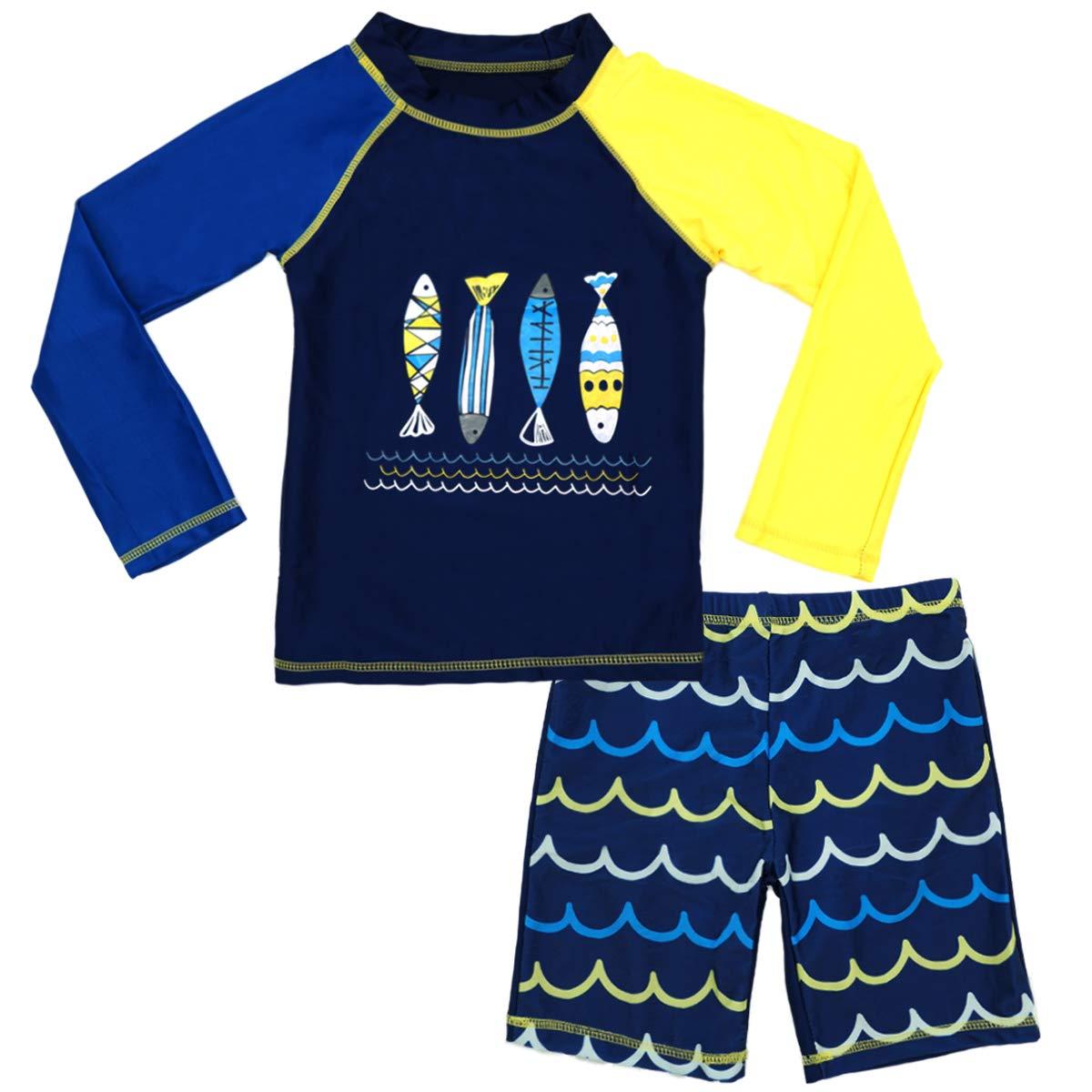 Little Kid Boy Swimwear Two Pieces Swimsuit Baby Toddler Long Sleeve Rash Guard Sun Protection Sunsuit 2-10t