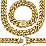 "18MM, 9"" Premium 18KT Real Gold Electroplated Stainless Steel Heavy Solid Miami Cuban Link Chain. Secure Box Lock. Available in 30"", 28"", 26"", 24"", 22"" Necklace or 8.5"", 9"" Bracelet"