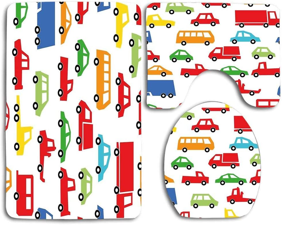 Huayuanhurug Toy Car Collection Toilet Rug Mat Set,3 Piece Soft Shower Bath Rugs Contour Mat and Lid Cover for Bathroom