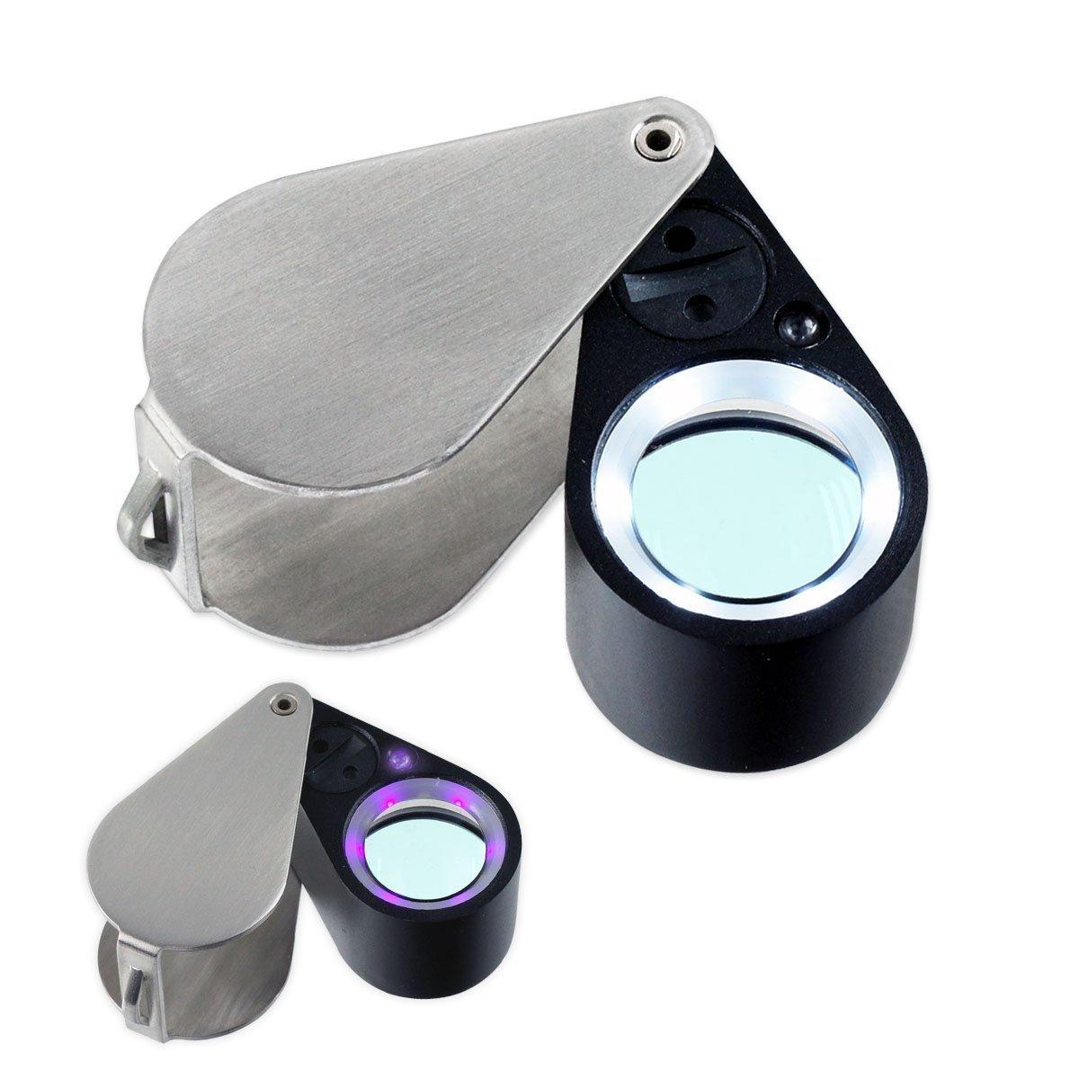 10x21mm Uv/led Triplet Illuminated Loupe-dual Light (White & Uv) Magnifier Loupe Ade Advanced Optics®