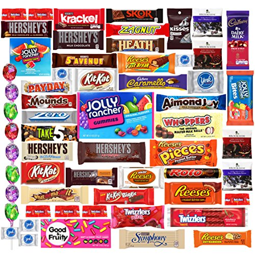 Ultimate Chocolate & Candy Premium Assortment Sampler Gift Box Includes Hersheys, Cadbury, Reeses, Kit Kat, Twizzlers, Jolly Ranchers, Rolos, York, Almond Joy, Take 5, Brookside & More (60 Count)