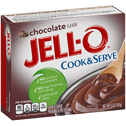 Jell-O Cook and Serve Pudding and Pie Filling, Chocolate, 5-Ounce Boxes (Pack of 6)