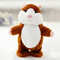 elegantstunning 5Pcs Lovely Talking Plush Hamster Toy, Can Change Voice, Record Sounds, Nod Head Or Walk, Early Education for Baby, Different Size for Choice Bright Brown and Walking