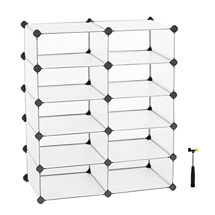 f4820c521839 SONGMICS 10 Cube Interlocking Shoe Rack Closet Wardrobe Standing Storage  Organiser Clothes Storing Cabinet 73 x 36 x 88 cm LPC20W