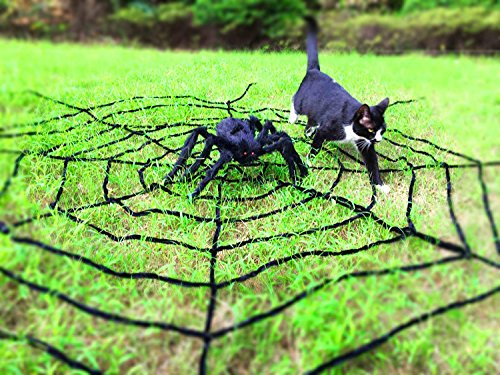 Oliva Branch Halloween Decorations Outdoor, 11 Feet Giant Black Spider Web and 3 Feet Spider Decorations Festive Party Supplies Outdoor (Extra Large, Black)