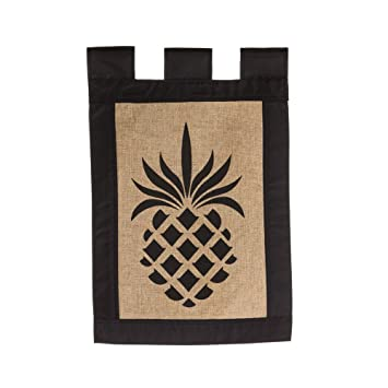 Amazoncom Evergreen Burlap Pineapple Garden Flag 125 x 18