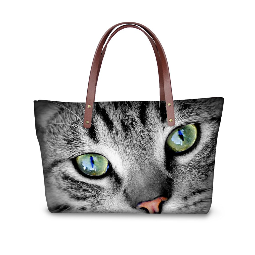 Showudesigns Cute Cat Eyes Handbag with Pocket for Woman Tote Purse Wallets Grey