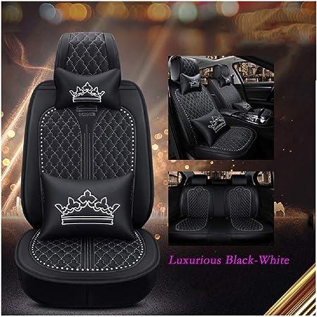 Everfabulous Auto Autositzbezüge 5 Sitze Full Set Universal Fit Luxuriöses Schwarz Weiß Auto