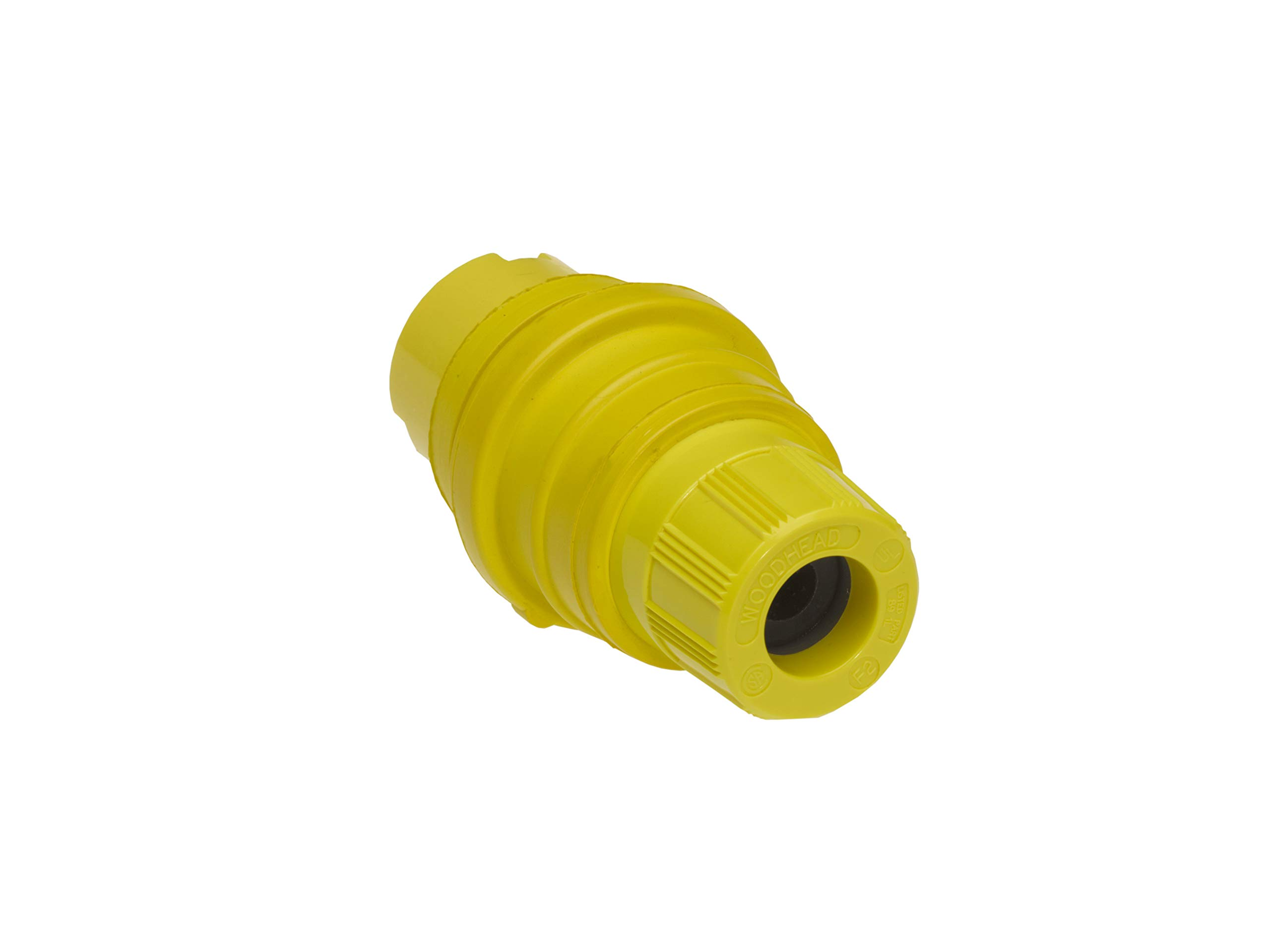 Woodhead 27W76MB Watertite Wet Location Locking Blade Connector For Male Receptacle, 3-Phase, 4 Wires, 3 Poles, NEMA L16-20 Configuration, Yellow, 20A Current, 480V Voltage