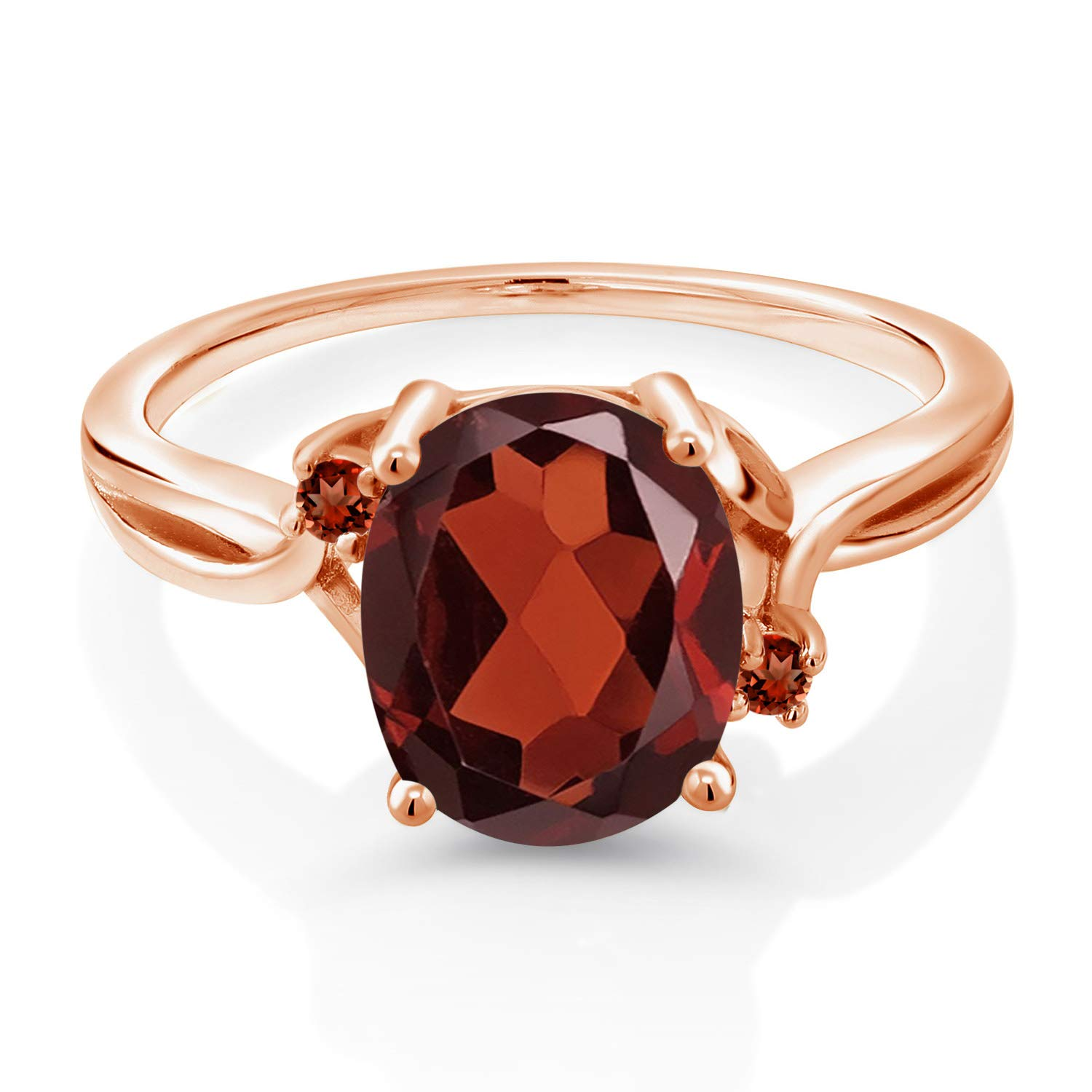 Gem Stone King 2.54 Ct Oval Red Garnet 14K Rose Gold Ring Available 5,6,7,8,9