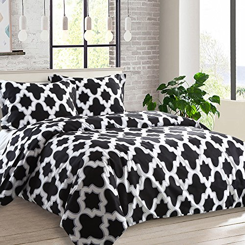 NTBAY 3 Pieces Duvet Cover Set Printed Microfiber Reversible Design(King, Quatrefoil) (3 Piece Duvet Set)