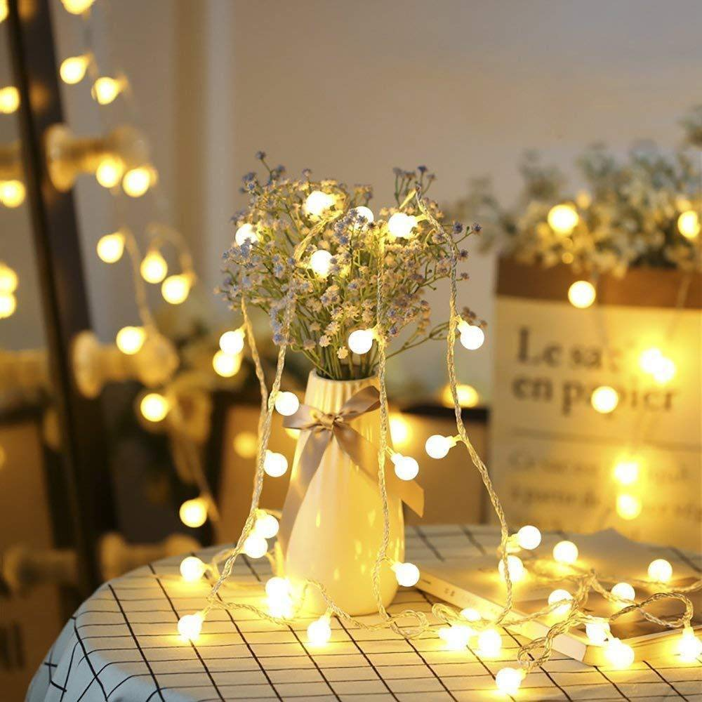 Globe String Lights, Decorative Fairy String Lights Battery Operated, 20 LED, 10ft(3m) Silvery Copper Wire Led Strip Light for Home, Party, Christmas, Wedding, New Year, Garden Decoration, Warm White