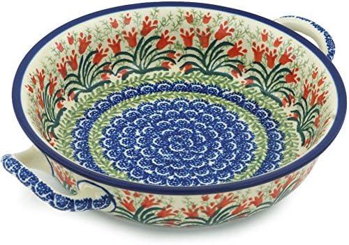Polish Pottery Round Medium Baker with Handles (Sprouting Tulips) made by Ceramika Artystyczna