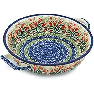 Polish Pottery Baker – Round with Handles – Medium – Crimson Bells