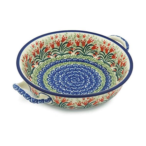 Polish Pottery Baker – Round with Handles – Medium – Crimson Bells