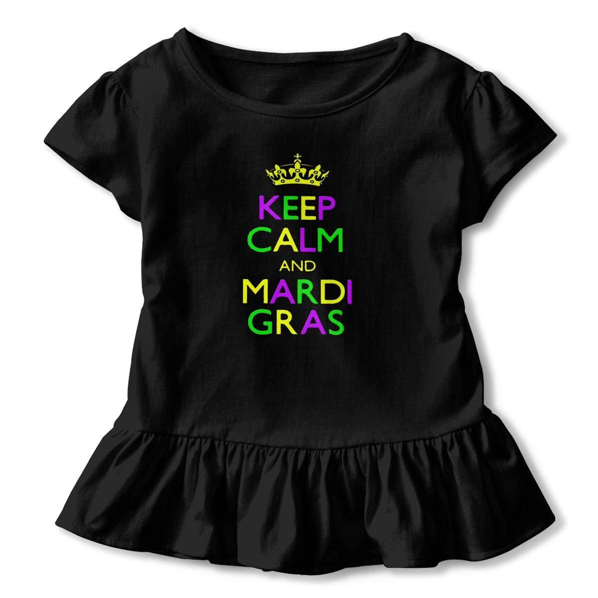 Clarissa Bertha Keep Calm Mardi Gras Funny Toddler Baby Girls Short Sleeve Ruffle T-Shirt