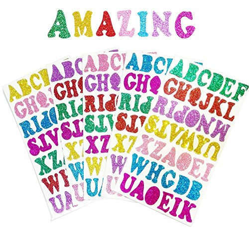 5 Sheets 210PCS Colorful Glittery Foam Self Adhesive Letters Stickers,Foam Letter Stickers Alphabet for Kid's Arts Craft Supplies Greeting Cards Scrap Books Home Decoration -