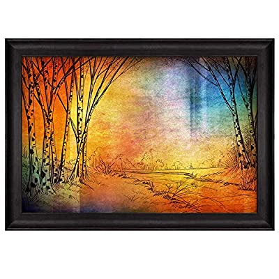 Pretty Visual, With a Professional Touch, Sketch of Trees in a Forest on a Colorful Background Nature Framed Art
