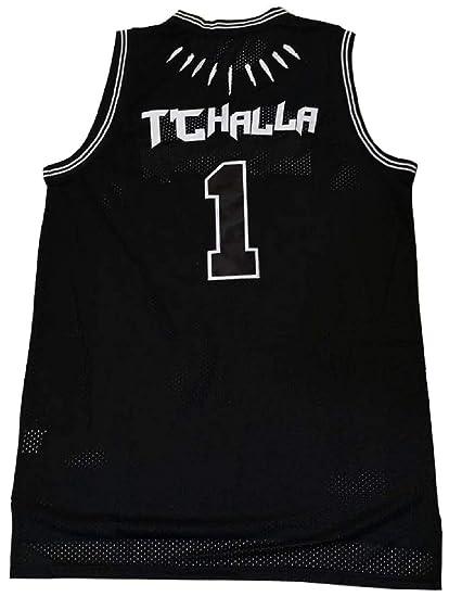 2d9d6a833d7 Kooy Black Panther Movie Wakanda T'Challa #1 Killmonger #2 Basketball Jersey  Stitched