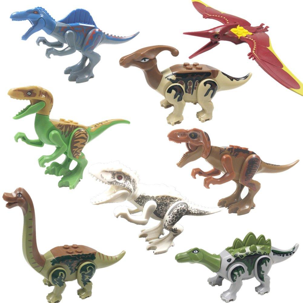 IROCH Dinos Toy - ABS Dinosaur Building Blocks Miniature Action Figures Toys - 8pcs