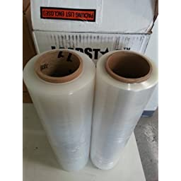 RC Mart 4 Rolls Clear Stretch Film Plastic Pallet Wrap 18 Wide x 1500 Ft 80 Gauge