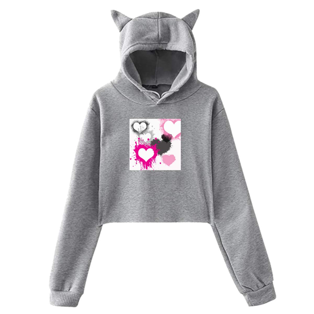 Personality Girl Cat Ears Umbilical Hoodie Fashion Sweatshirt Sweater Gray