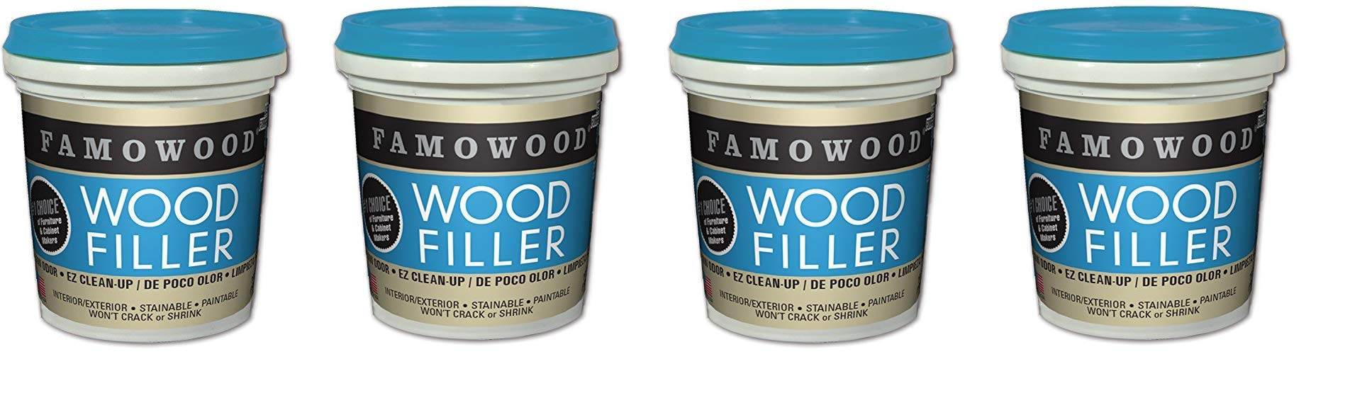 FamoWood 40042126 Latex Wood Filler - 1/4 Pint, Natural (4-Pack) by FamoWood (Image #1)