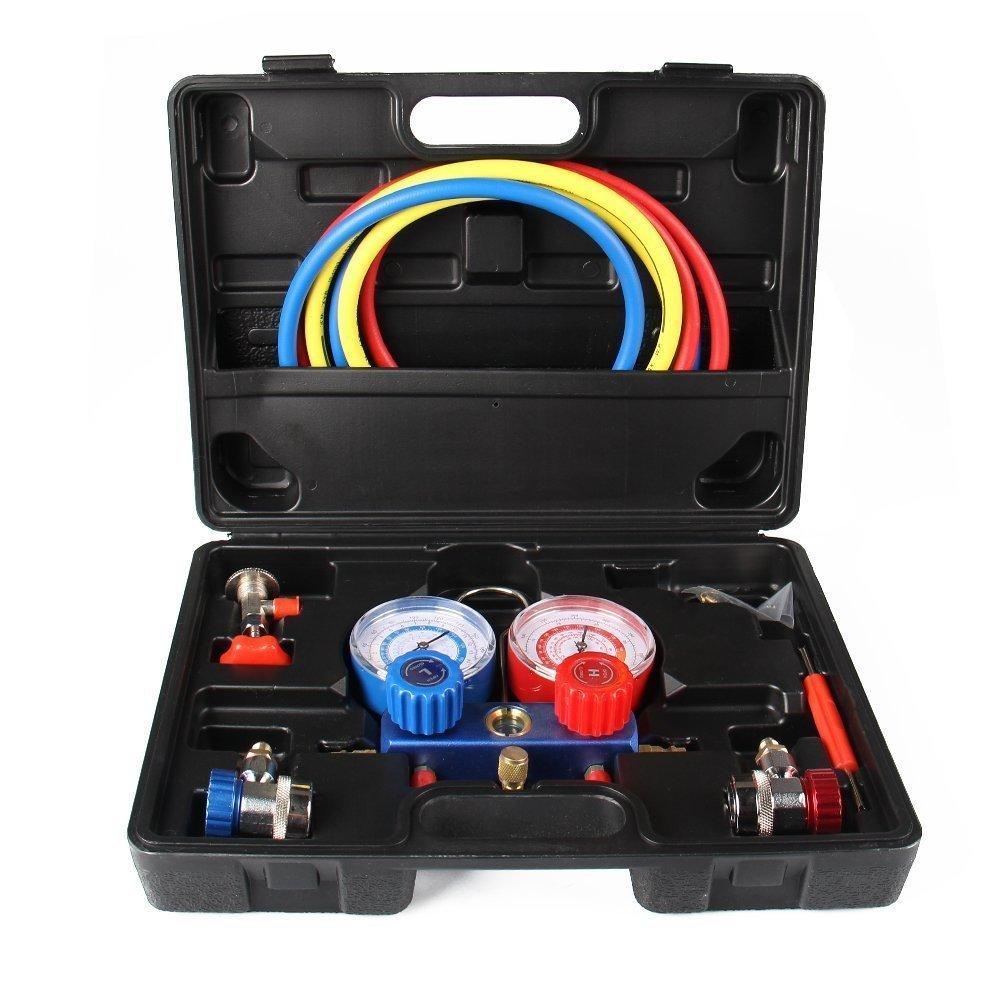 AC Refrigeration Kit A/C Manifold Gauge Set for Air R12 R22 R134a 410a R404z By TINGAO