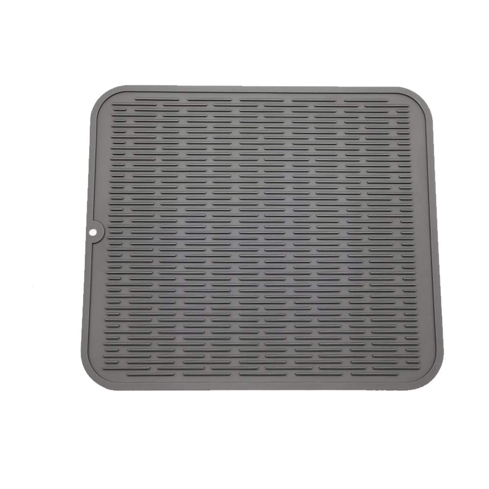 """ZLR Silicone Dish Drying Mat Easy Clean Dishwasher Safe Heat Resistant Eco-Friendly Trivet Grey XL 16"""" X 18"""""""
