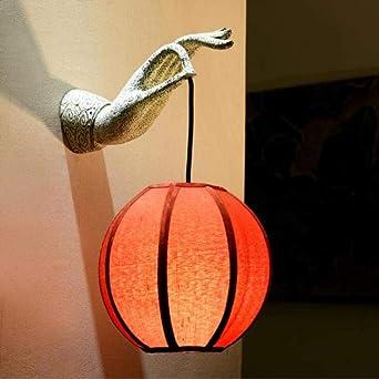 Lámpara de pared creativa Zen Buddha lámpara de mesita de noche de interior antiguo pequeño loto pantalla de jardín villa compartimento escalera baño lámpara de pared: Amazon.es: Iluminación