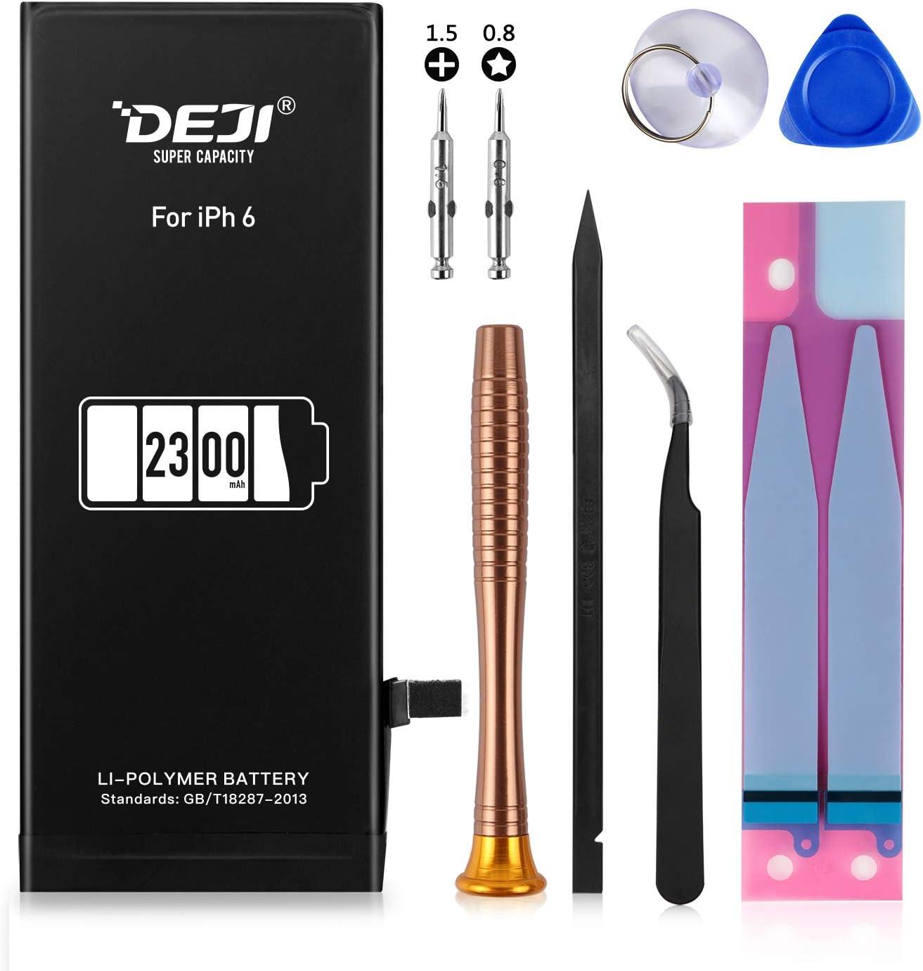 DEJI Battery for iPhone 6, 2300mAh High Capacity Replacement Battery for iPhone 6 A1549, A1586, A1589, with Professional Repair Tool Kit and Instructions -[2 Year Warranty]