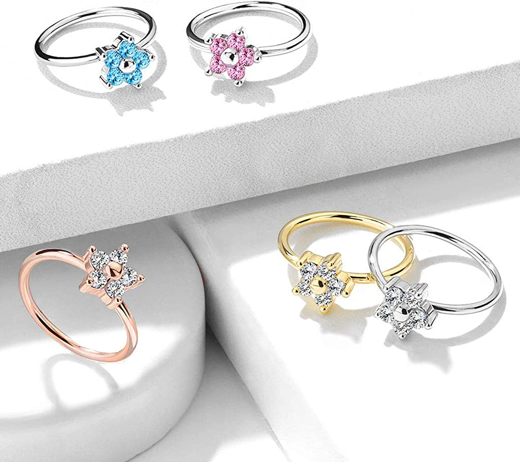 Blue Palm Jewelry 20GA 5//16 0.8mm 2mm Five CZ Flower Top 316L Surgical Steel Nose Stud Rings N117 8mm