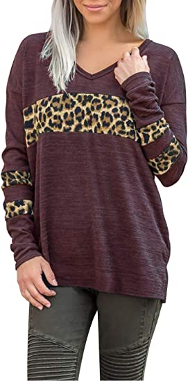 Women Leopard Print Long Sleeve V-neck Casual Loose T-Shirt Top Blouse Pullover