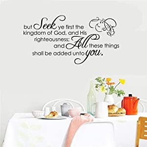 Wall Art Decor Decals Removable Mural But Seek Ye First The Kindom of God and His Righteousness for Living Room Couple Room