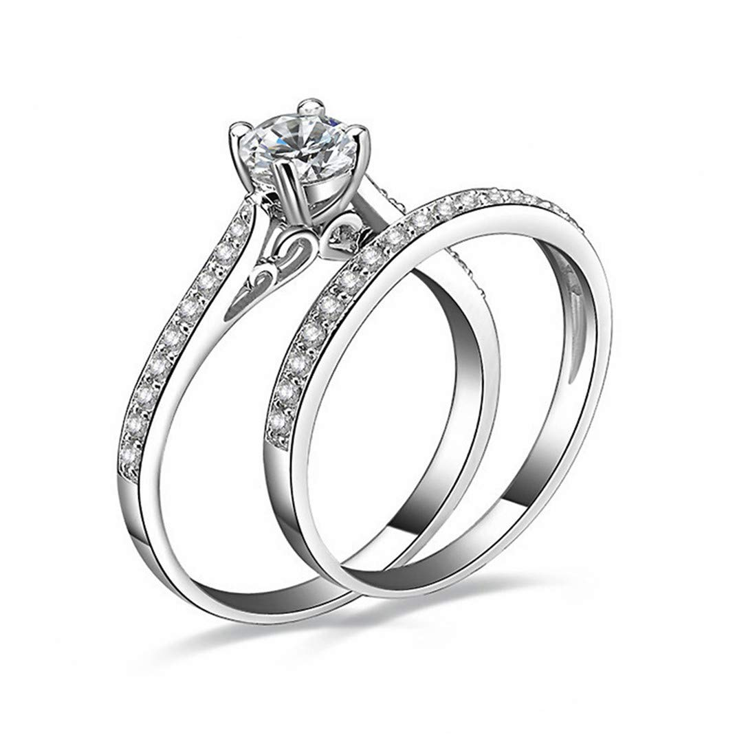 lehao His & Her Real Love Round Wedding Engagement Bridal Ring Band Set for Couple Ring Jewelry,Number 10