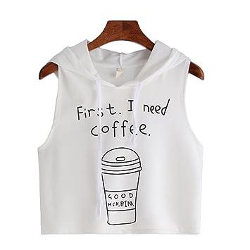 ... Moda Sexy Café Impreso Cultivo Encapuchado Sin Mangas Camiseta Tops Mujer Negra Fiesta Blusa Mujer Fiesta Blanca Blusa: Amazon.es: Deportes y aire libre