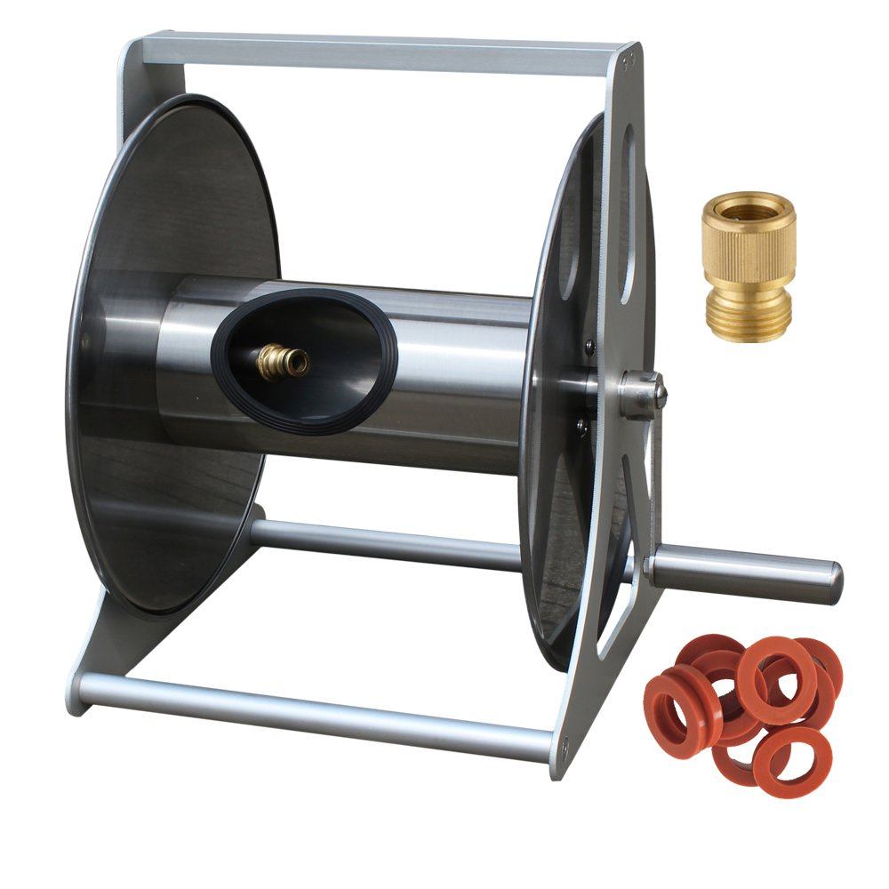 "Stainless Steel Garden Hose Reel 100' 5/8"" Capacity with 5' Inlet Hose Washer Pack"