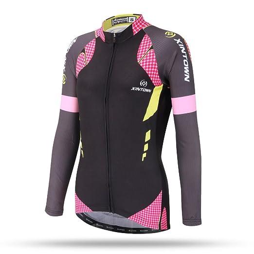 40ff2952c DuShow Women Thermal Fleece Cycling Jersey Shirt Long Sleeves Winter Jacket  Top(S