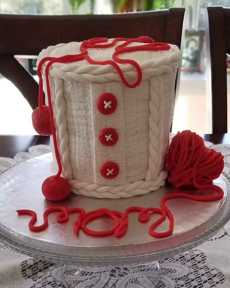 Wocuz Set of 4 Fondant Impression Mat Knitting Sweater & Crochet Texture Embossed Design Silicone Cake Cupcake Decorating Supplies molds by Wocuz (Image #5)